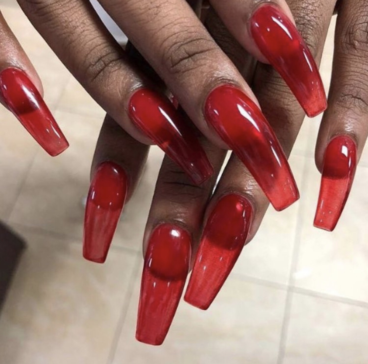 red jelly nails, nails, acrylic nails and acrylic