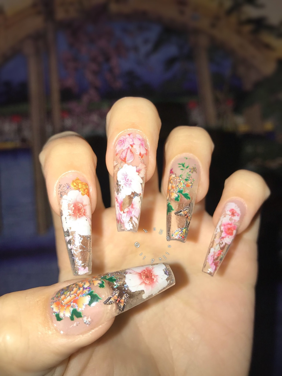glass nail, clear nails, floral nails and coffin shape