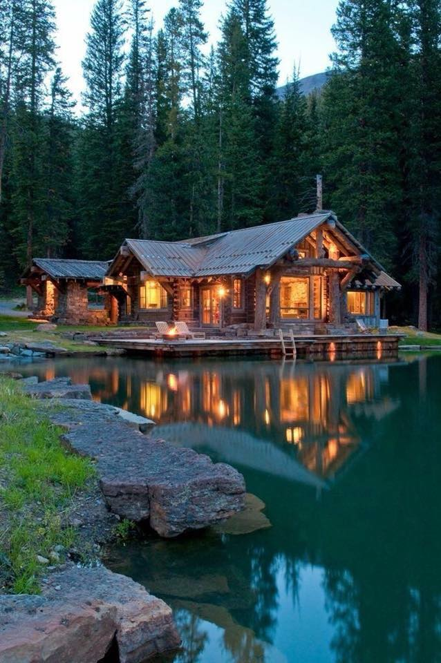 mountains, log cabin, house and cabin