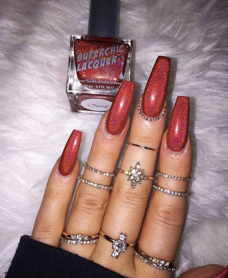 manicure ideas, red glitter manicure, red glitter nails and red nails