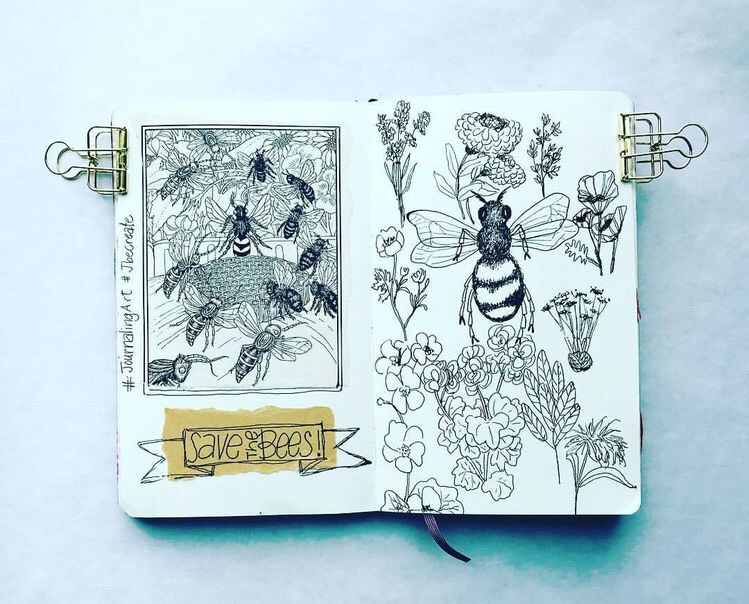 moleskine journal, bujo, flowers and drawing