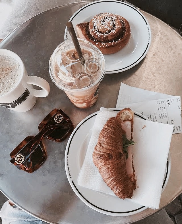 table, breakfast, sunglasses and croissant