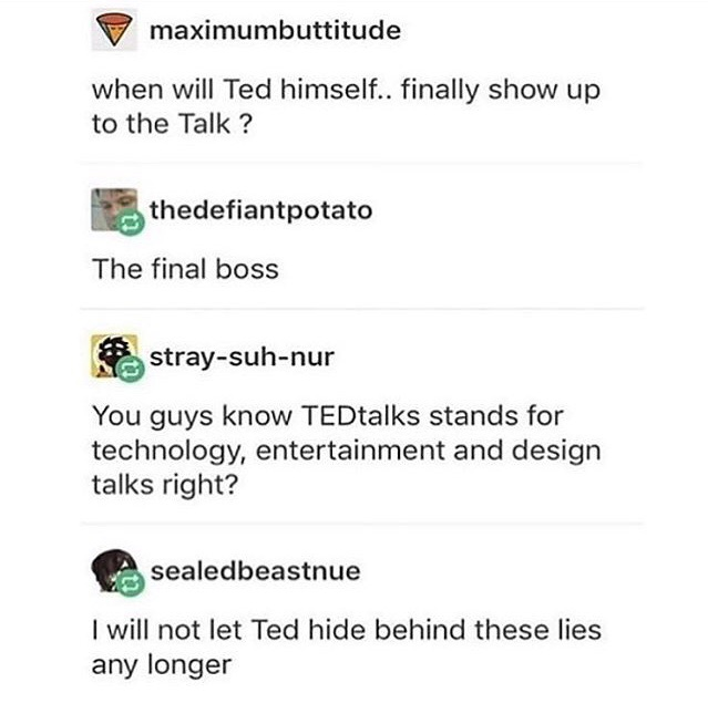 ted, hilarious, text post and twitter