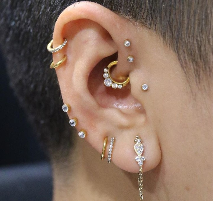 tragus, piercings, double forward helix and jewellery