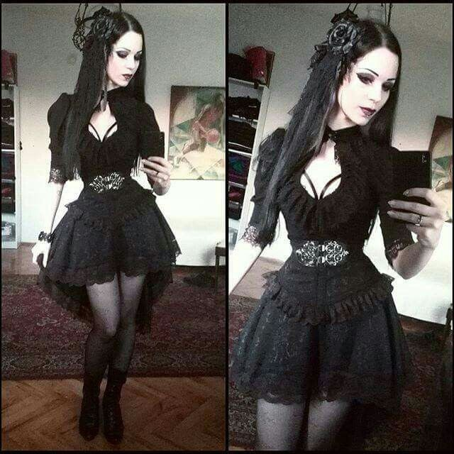 black dress, alternative, goth style and goth fashion