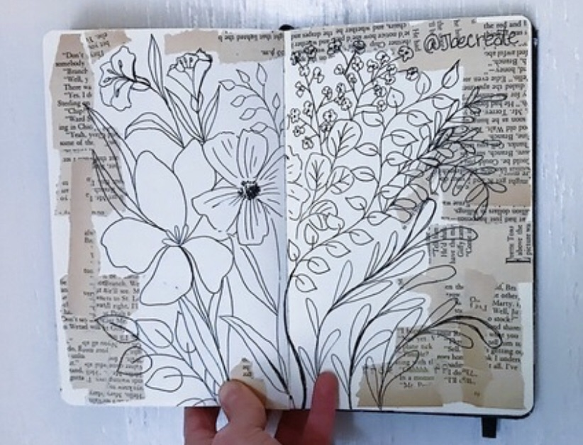 art journal, journal aesthetic, flower doodles and journaling