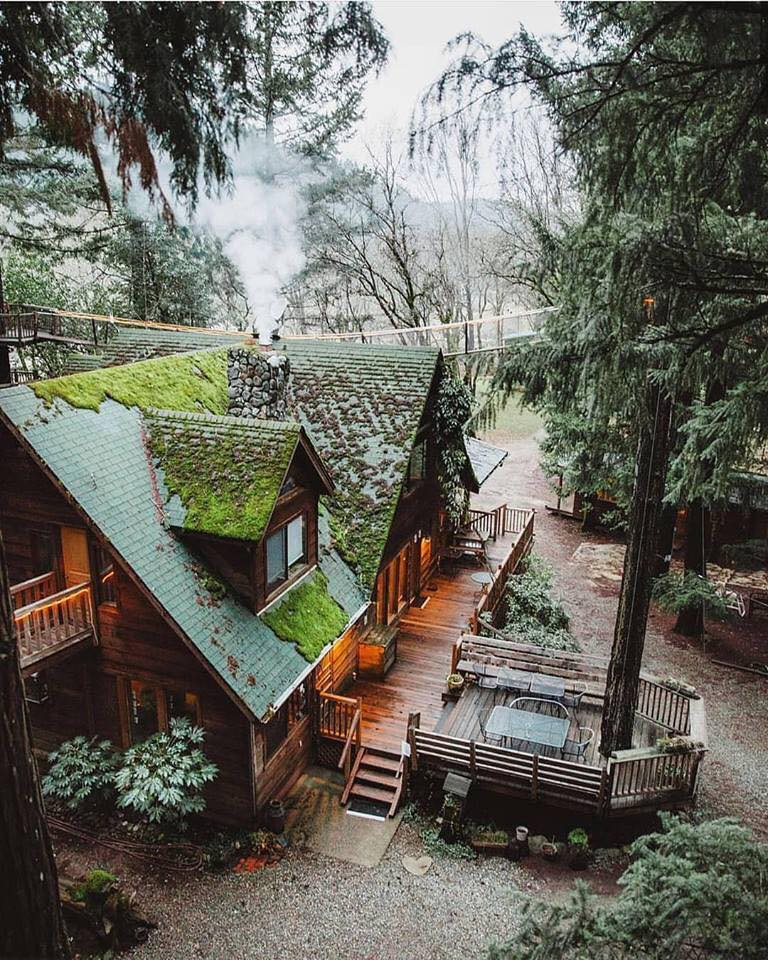 mountains, log cabin, cabin and house