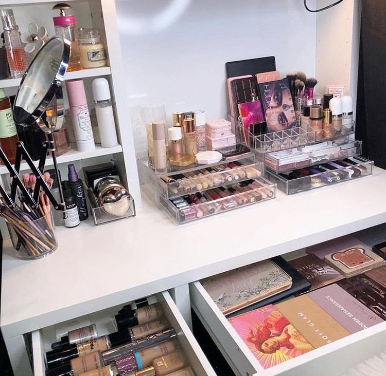 vanity organization, makeup collection, beauty room and vanity