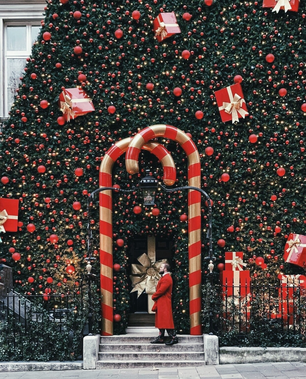 candycanes, decor, presents and christmas