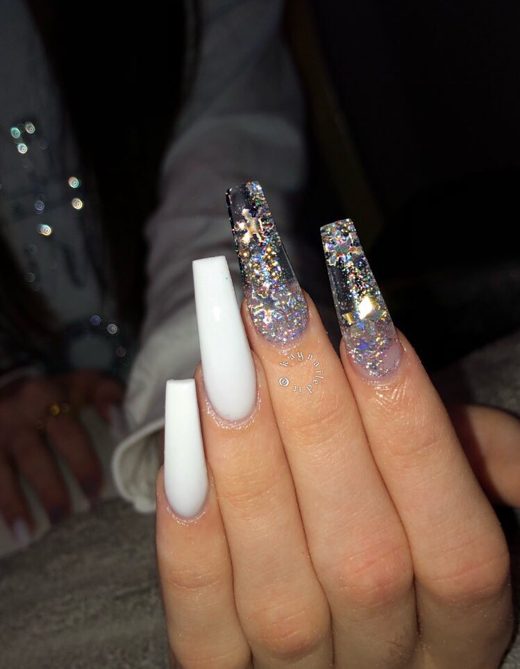 long nails, coffin, coffin shape and glitter nails