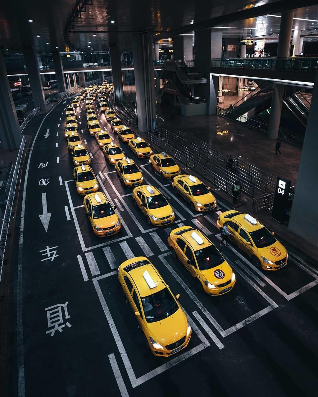 city, night, yellow and taxi