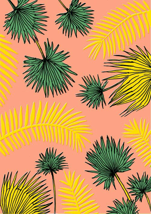 wallpaper, yellow and palm trees
