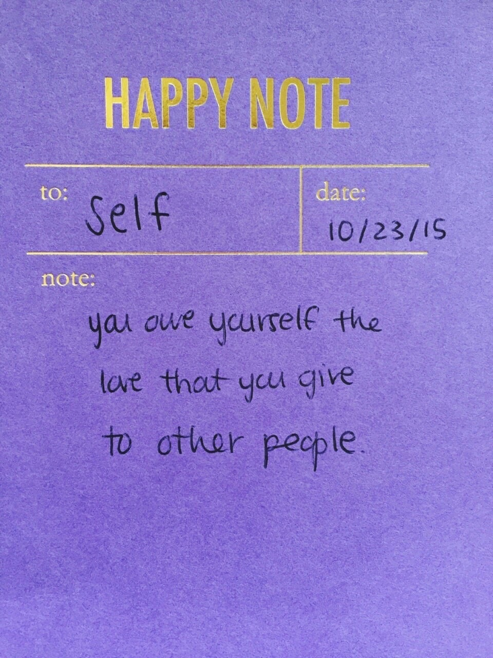 give, self and note