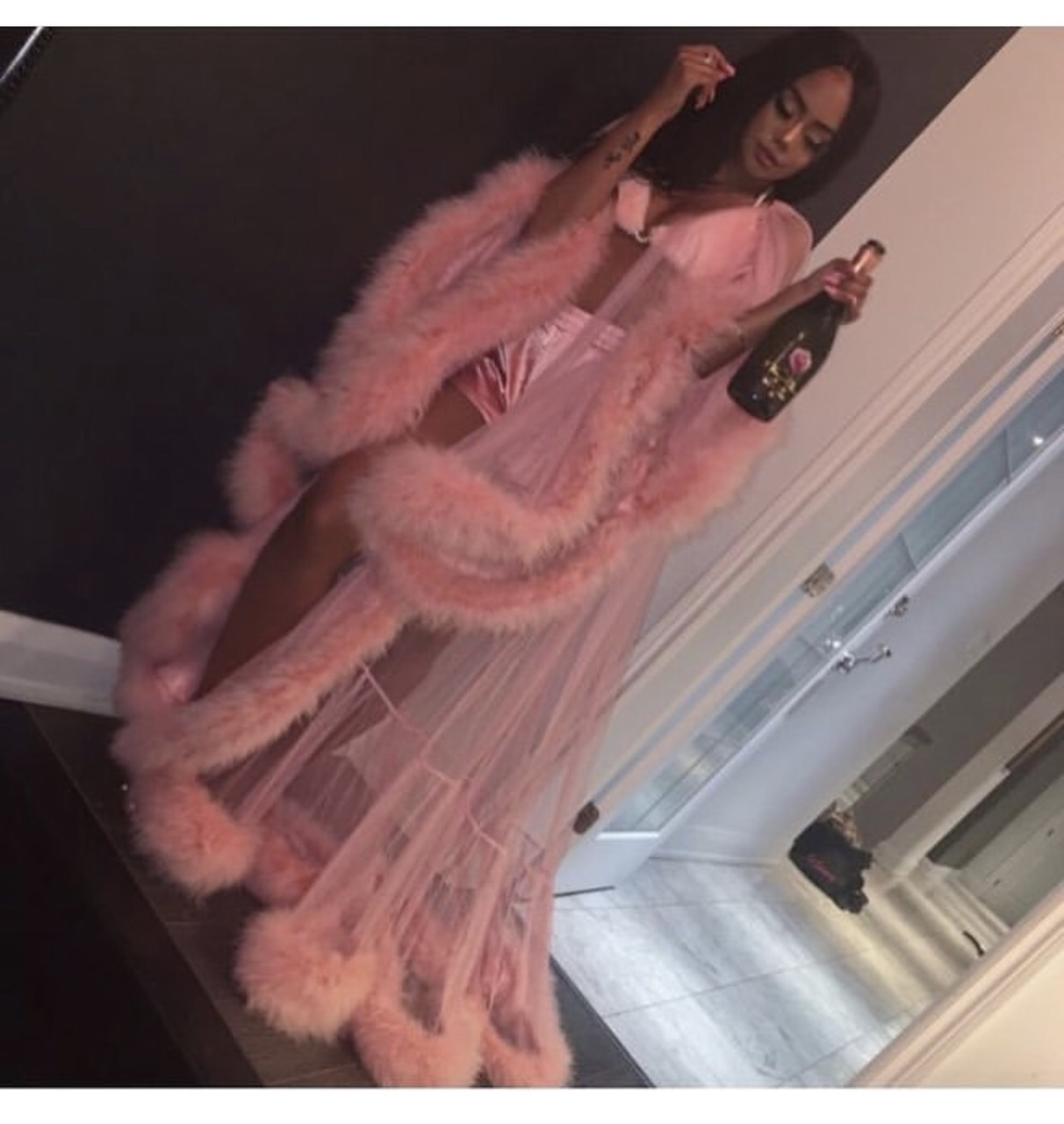 queen, robe, pjs and pink silk