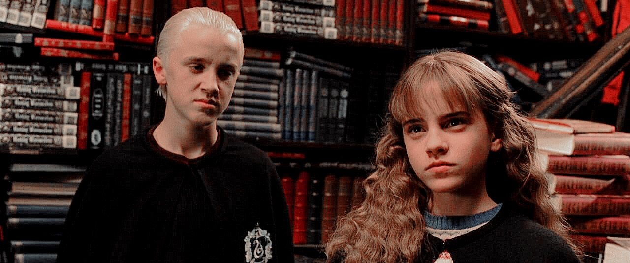 harry potter, hermione granger and draco malfoy