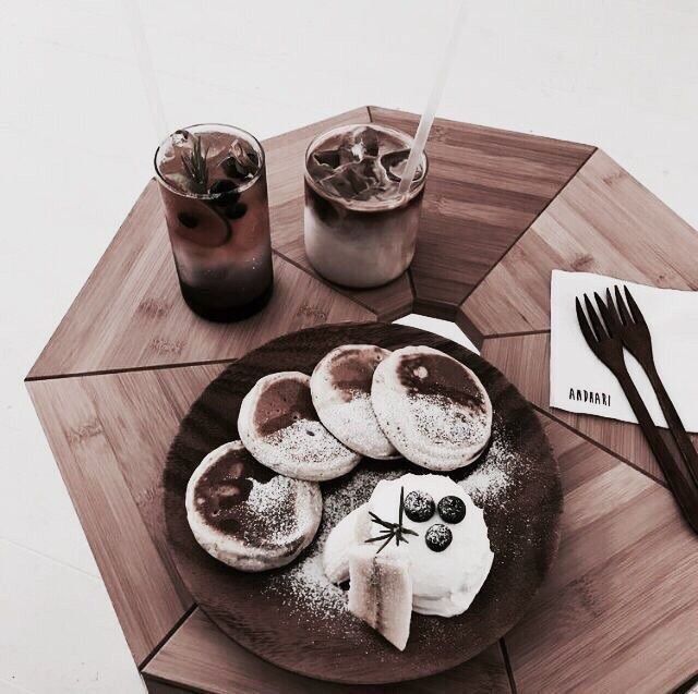 food, pancake, coffe and quote