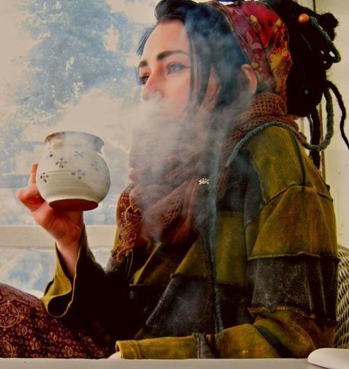 dreads, hippie, coffee and stoner