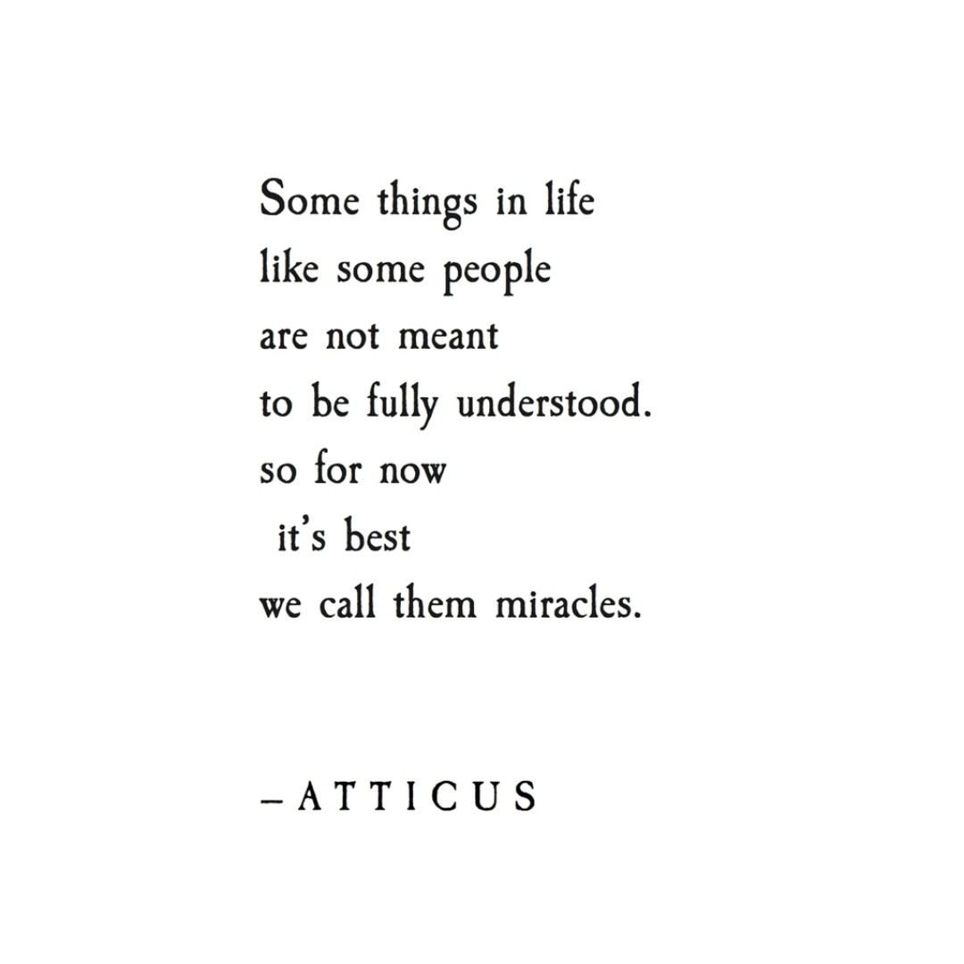 miracle, atticus poetry, poet and words