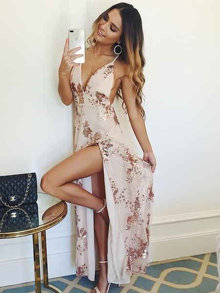 fashion, dresses for prom, backless prom dress and champagne prom dress