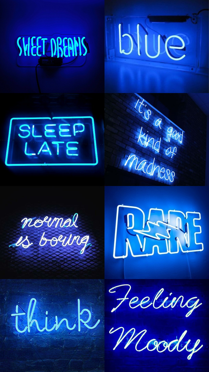 neon blue aesthetic, collage, blue aesthetic and black