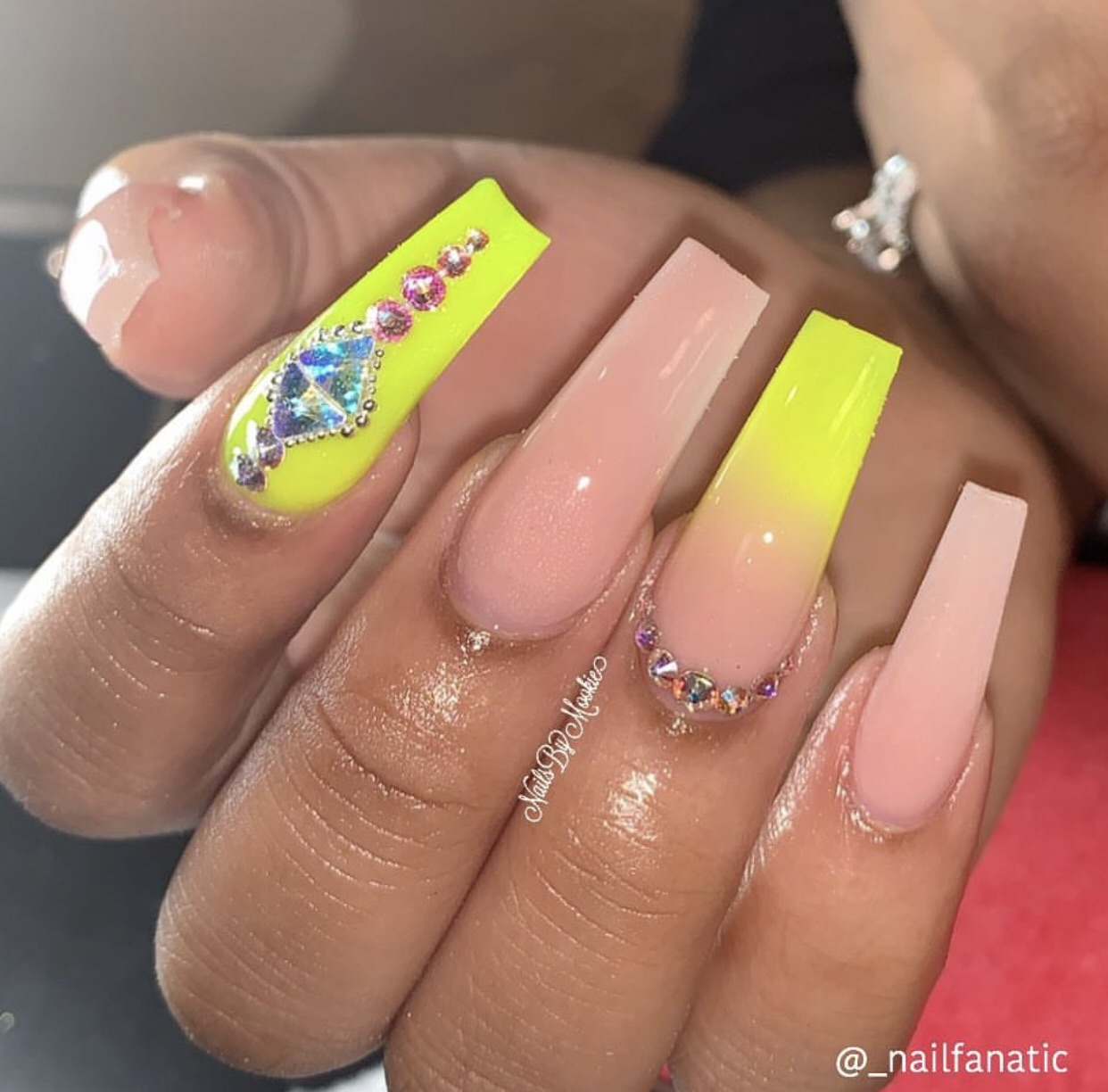 neon nails, nude nails, acrylic and acrylic nails