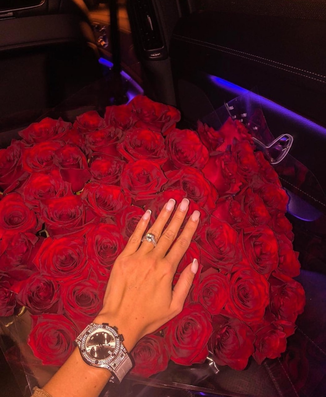 silver, red roses, rolex and ring