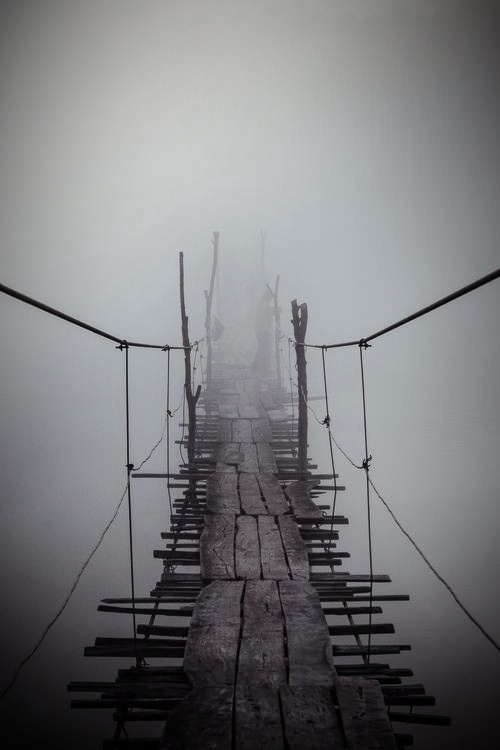 foggy and cloudy place, black and white picture, winter weather and cold feelings