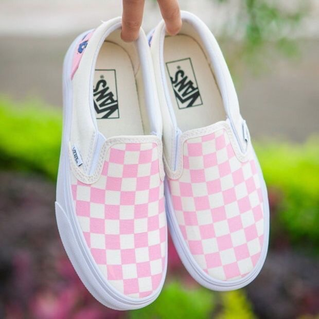 vans, girls, pink and checkerboard