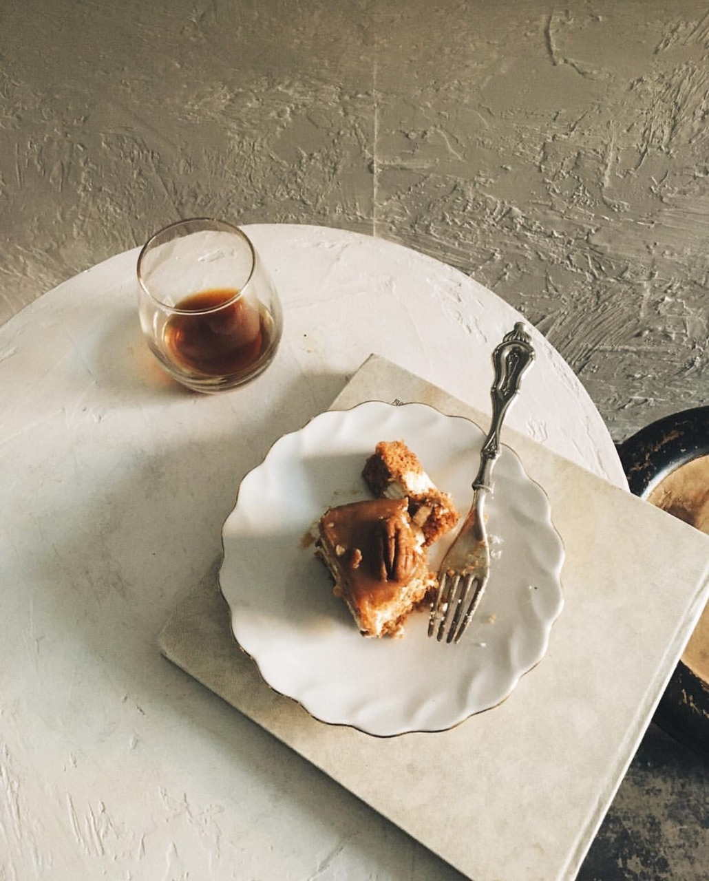 espresso, fork, morning inspiration and pastries
