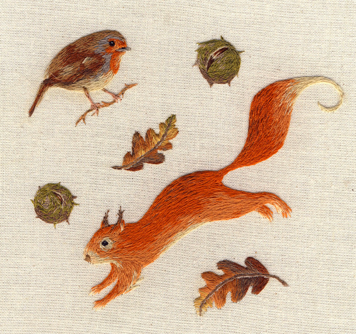 embroidery, red squirrel, nature and craft