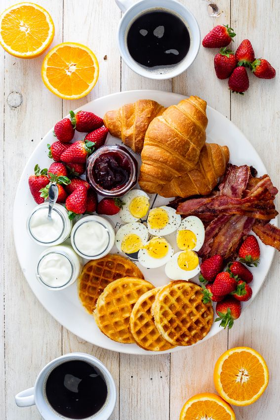 waffles, delicious, eggs and bacon