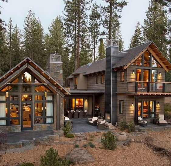 mountain living, hybrid house, log cabin and mountains