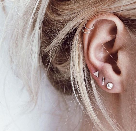 lobe, helix, dainty and piercings