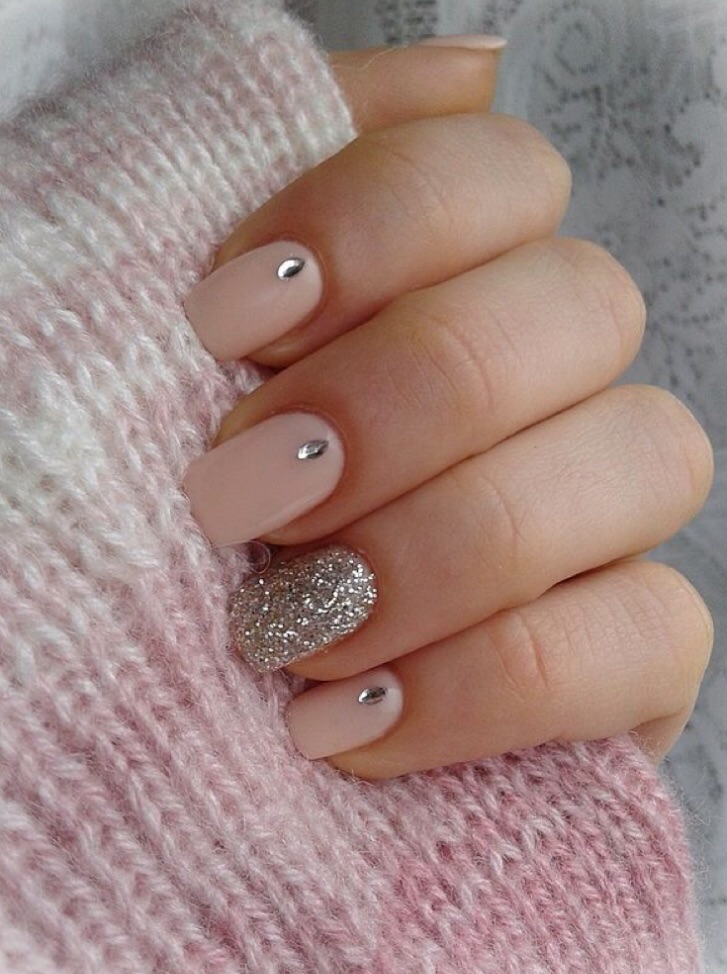 acrylic, acrylic nails, silver glitter and pink