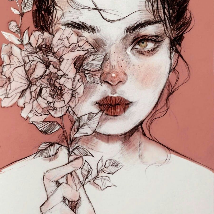 drawing, flower, drawing woman and flower girl