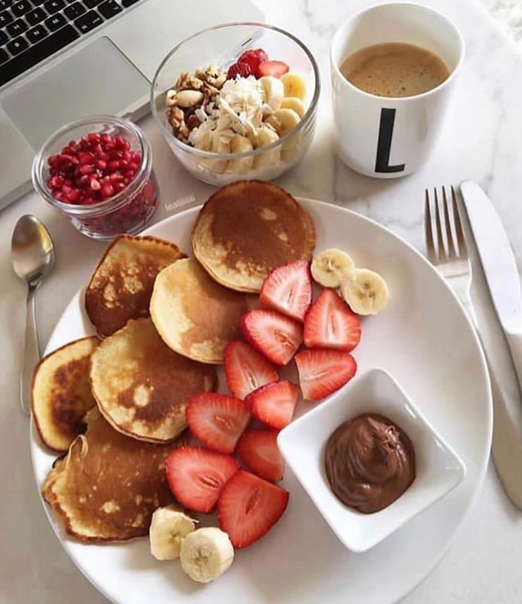 healthy, breakfast, lunch and nutella