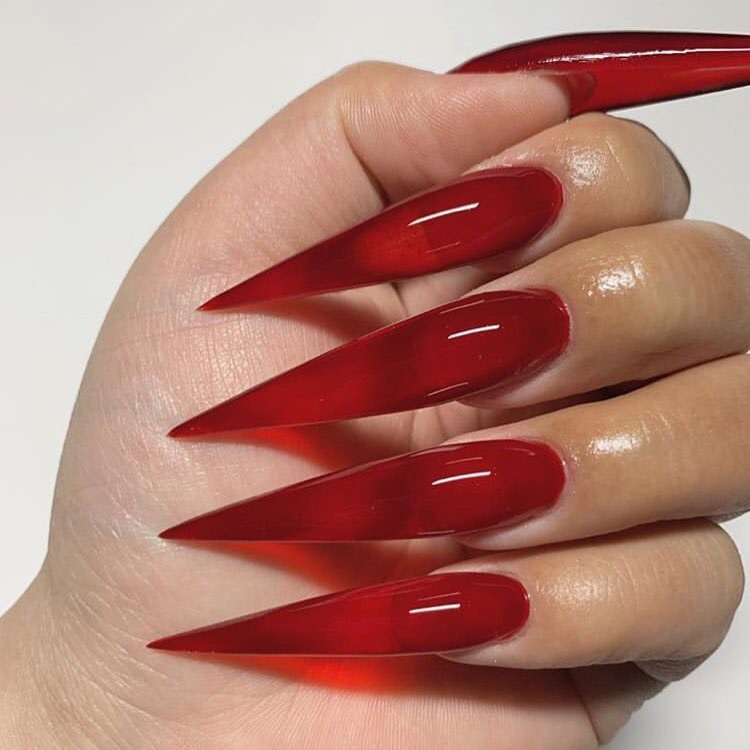 red nails, cherry, gel and gel nails