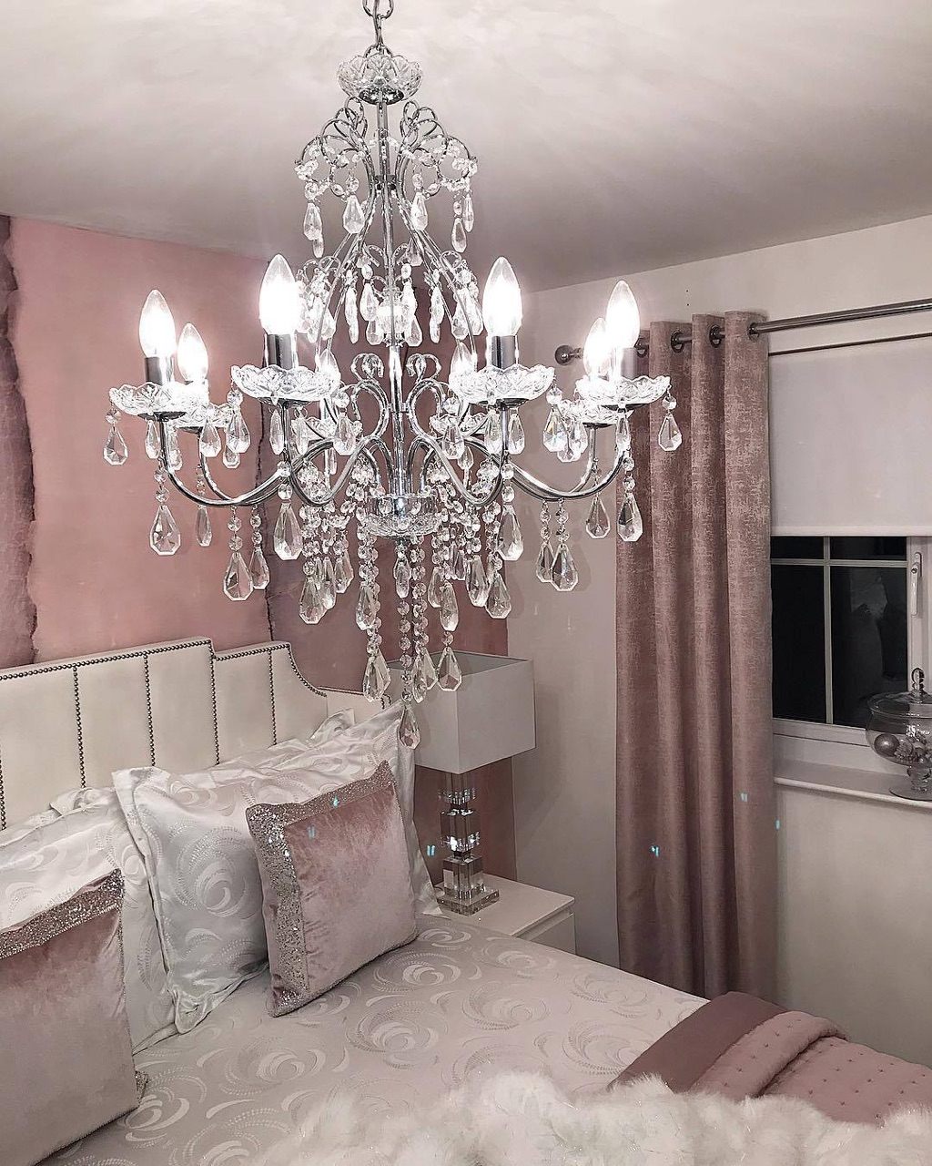 chandeliers, rose gold decor, home and decor