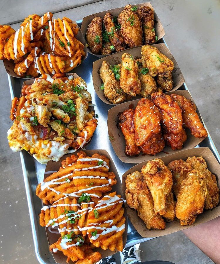 food locations, wings, fries and waffle fries