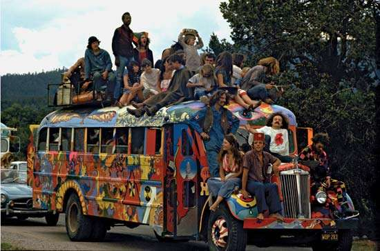 hippie hairstyles, hippie, school bus and bus full of hippies