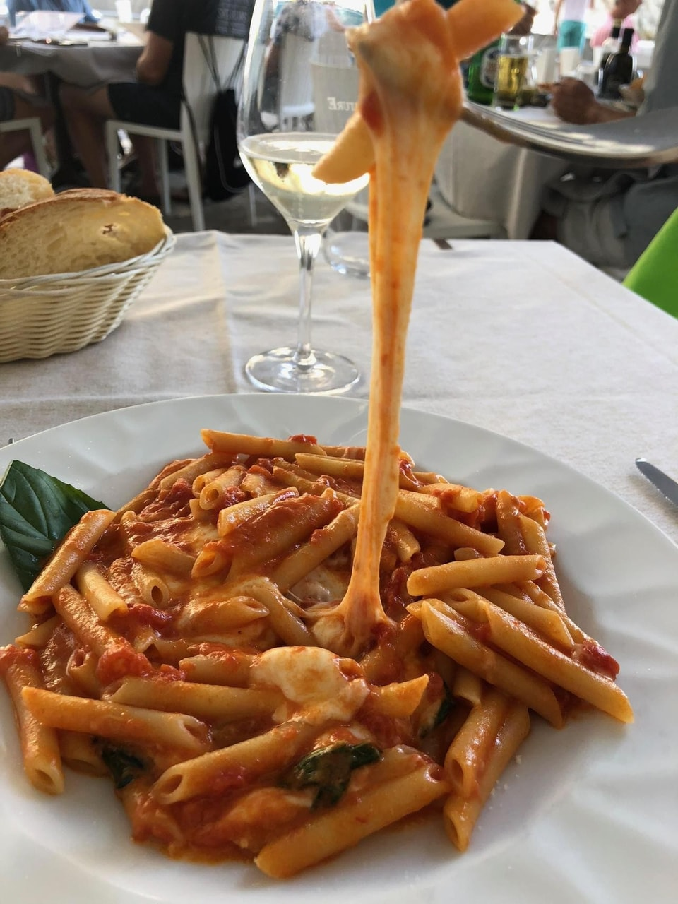 cheese, pasta, wine and tomato sauce