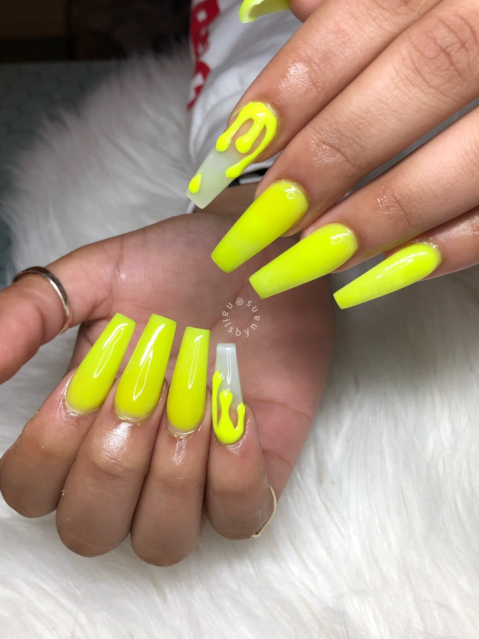Nails Coffin Shape Yellow Nails And Almond Nails Image 6892558 On Favim Com