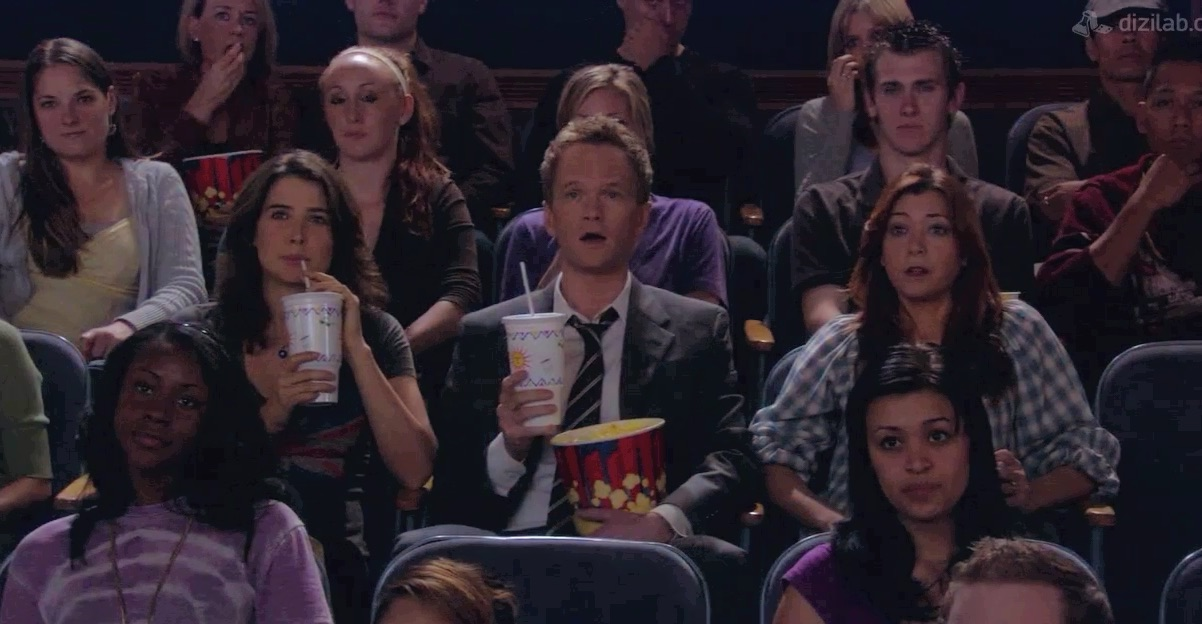 pop corn, barney stinson, show and robin sherbatsky
