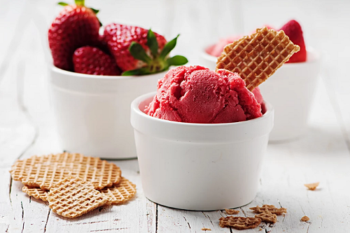 strawberries, sorbets, yummy food and food kitchen