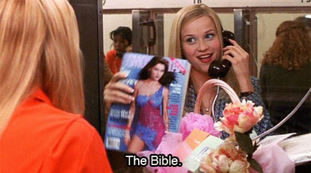 pink, legally blonde, bible and magazine