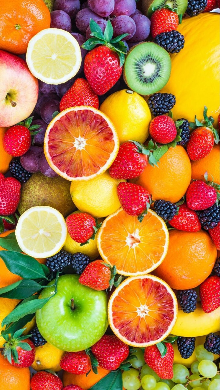 orange, healthy, winter fruits and strawberry