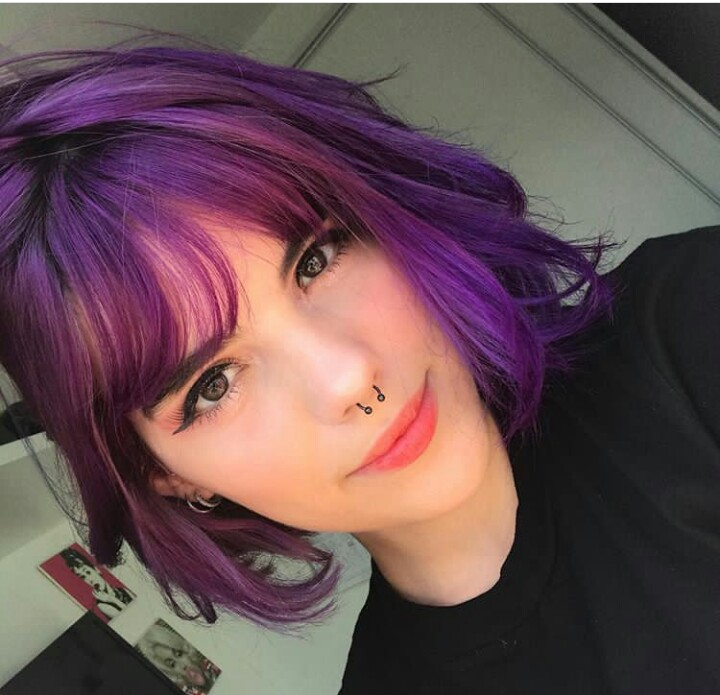 purple hair, cabelo colorido, hair colored and short hair