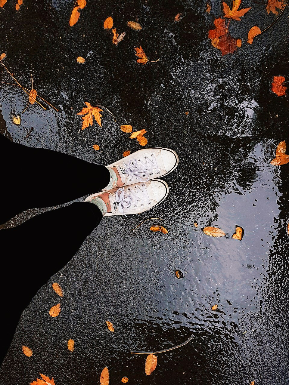 converse, falls, street and rainy day