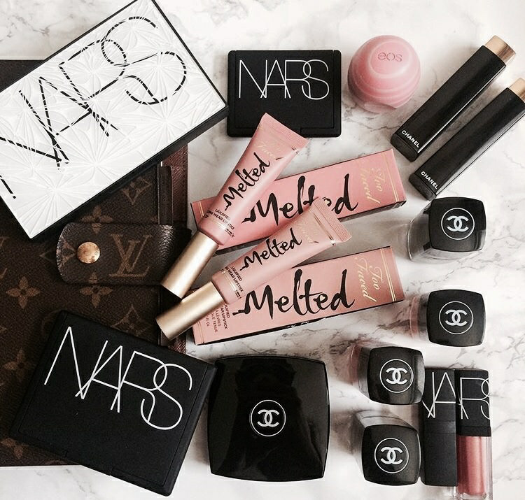 chanel, cosmetics, melted lipstick and nars cosmetics
