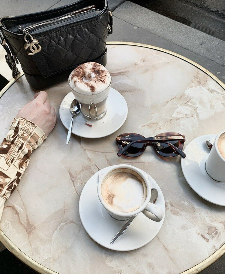 but first coffee, cappucino, sunglasses and coffee